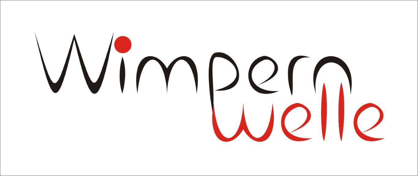 Logo hoch schwarz rot Hintegrund weiss wimpernwelle